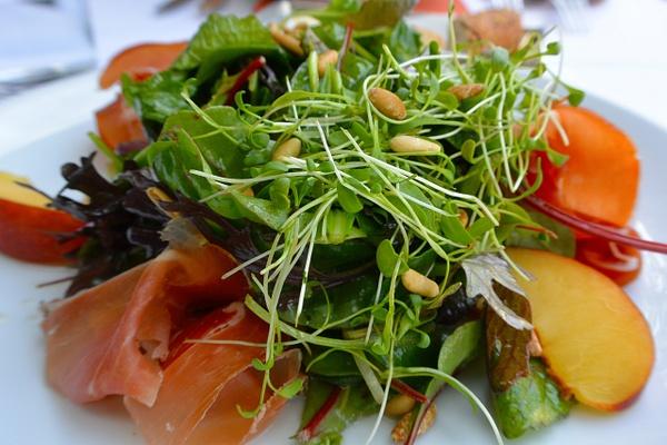 peach and parma ham salad by Gabriel le Roux