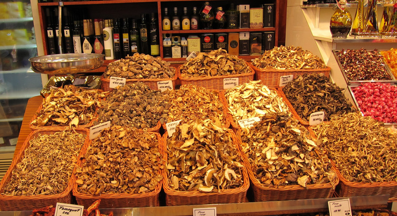 selection of dried mushrooms