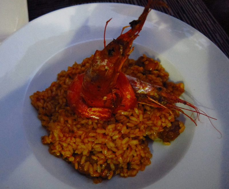 paella with grilled prawns