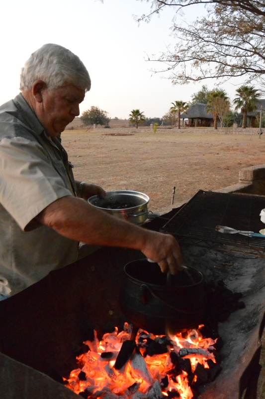 my dad cooking his famous springbok liver in beer