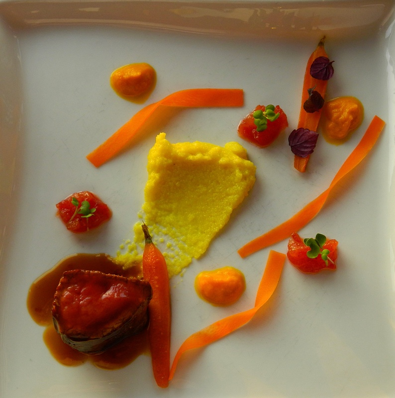 poached beef and carrots