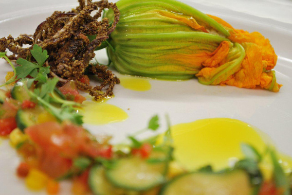 RAW food courgette flower by Gabriel le Roux