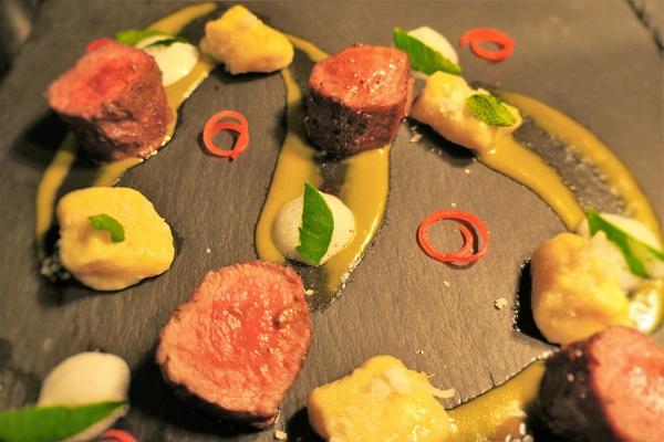 lamb, gnocchi, green curry mousse by Gabriel le Roux