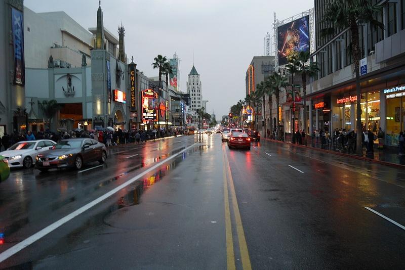 Eka päivä Hollywoodissa, kylmää ja sadetta!