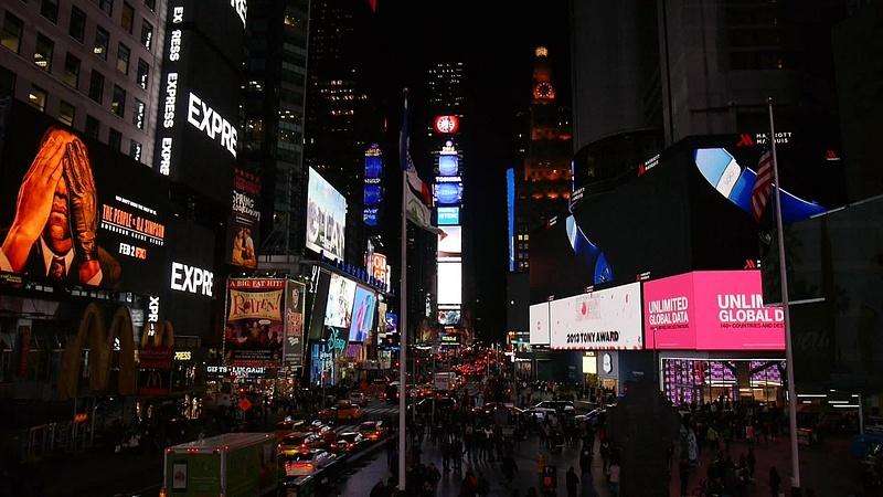 Times Squaren valojen ilotulitusta