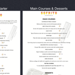 Breathless menus and activity sheets