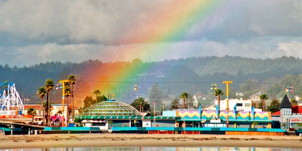Rainbow over Santa Cruz print.01 by James Bickler