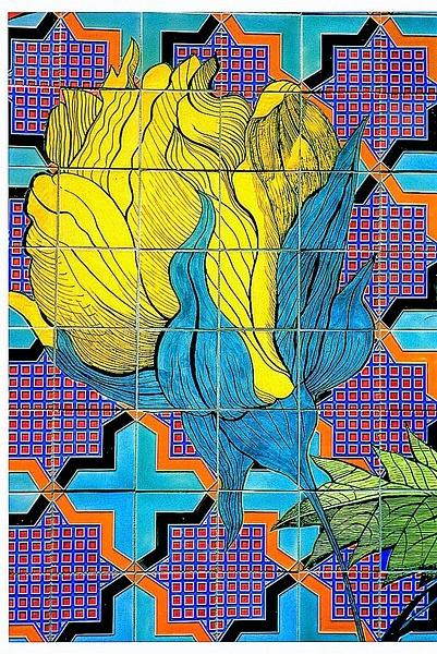 Pasadena tile Wall 2 print-001 by James Bickler