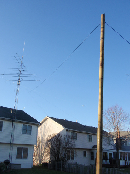 N9TF 160m lazy inverted L 70 feet from tower 10 foot...