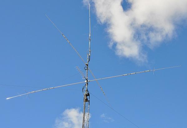 N9TF antennas CX333 triband at top, 2m HO loop stack,...