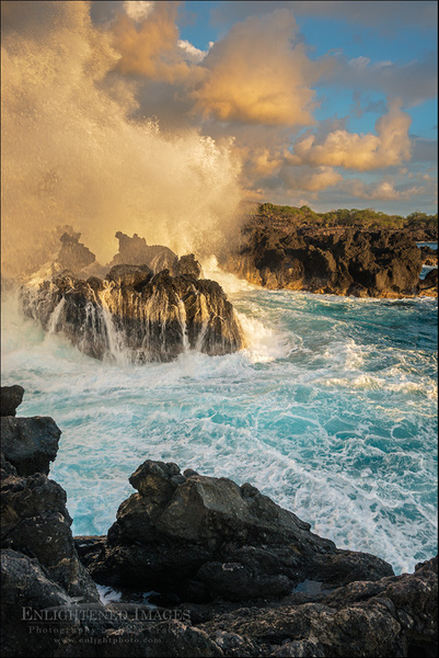 Waves crashing against coastal lava rocks at sunset at The End of the World by GaryCrabbe