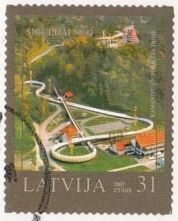 Latvia stamps by postcards