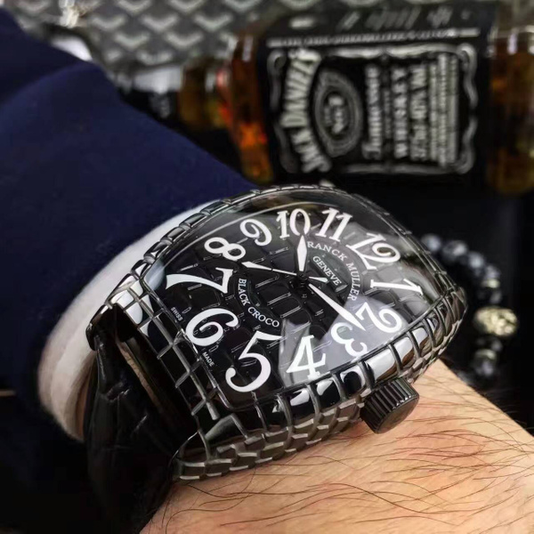 FRANCH MULLER CURVEX BLACK CROCO