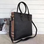 BURBERRY LONDON LEATHER AND HOUSE CHECK TOTE BAG