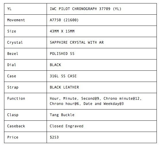 IWC PILOTS CHRONOGRAPH SS - 377709 (YL) by FatPanda