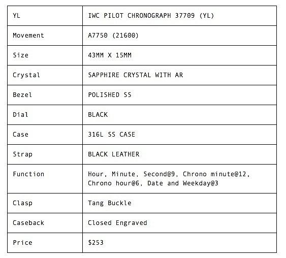 IWC PILOT CHRONOGRAPH 37709 -YL-