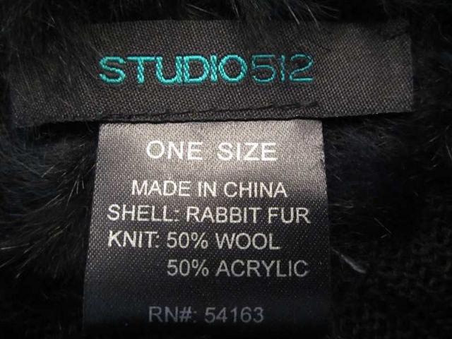 HSM-03 Poncho en poil de lapin noir (taille unique) 40 $