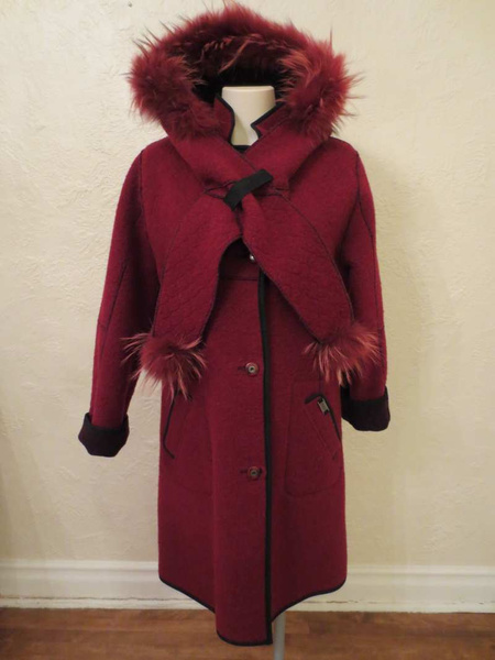 M-11 Manteau Epsilon avec capuchon et foulard intégrés en poil de renard(taille XS, mais fait S) 95$ by Mamzelle M.