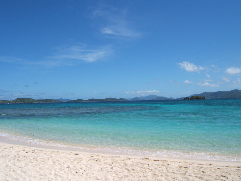 Sapphire Beach and Shark Island with BVI islands in the background.
