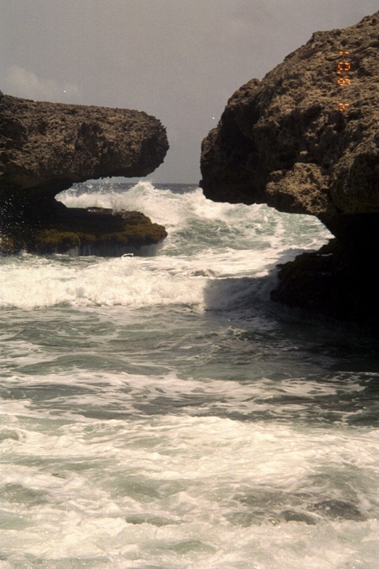 Waves crashing through the rocks
