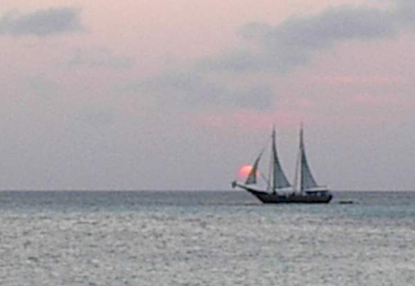 Schooner at sunset