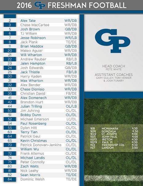Game-Roster-Full by Freshmen Football