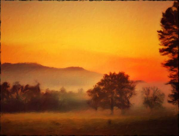 Fog is lifting at Sunrise in the Smoky Mountains made to look like a painting