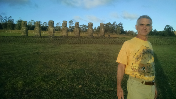Another image in front of moai