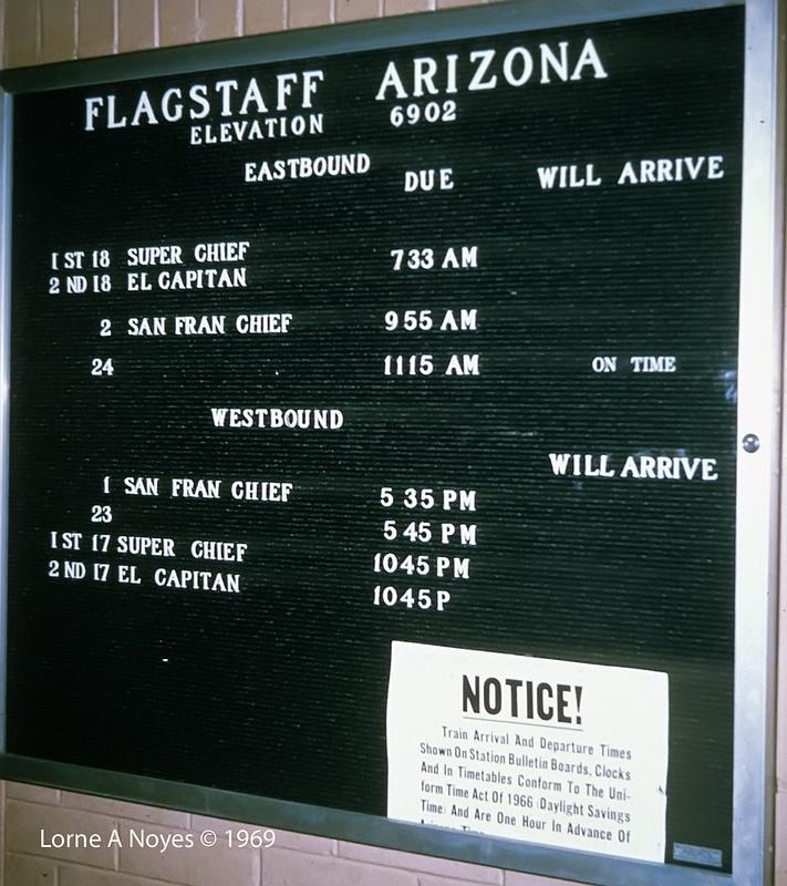 ATSF passenger schedule in 1969