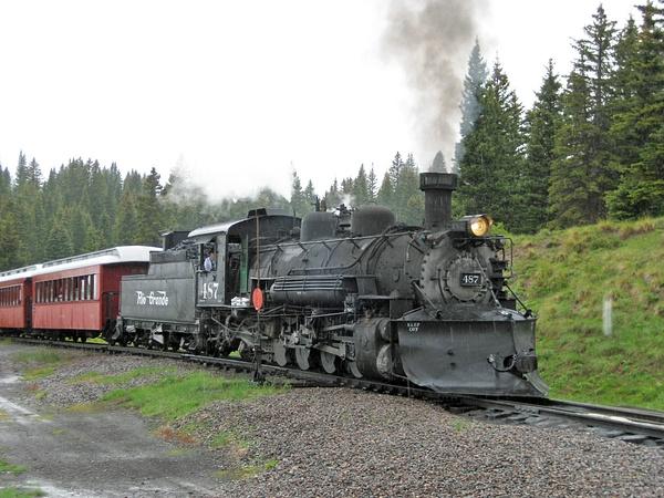 Regular passenger train arriving at Cumbres by...