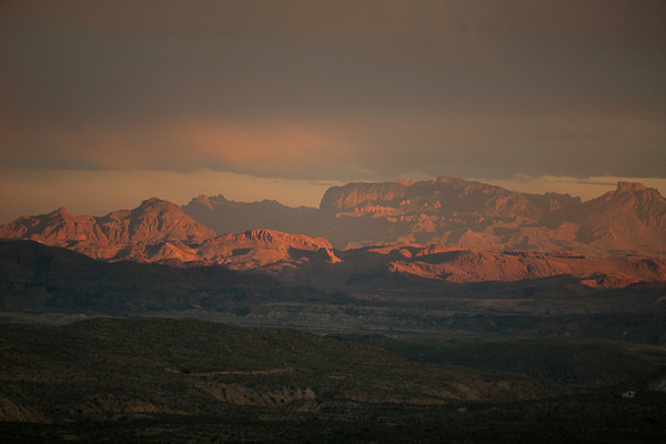 The Chisos at sunset by Clyde Replogle