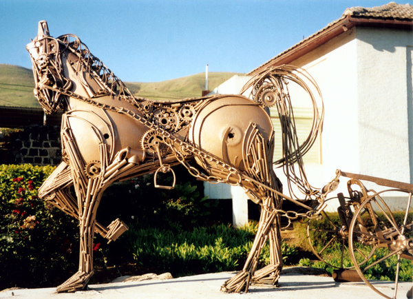 Horse and Plough by Shimon Drory by Shimon Drory