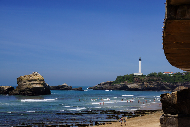 Beach and lighthouse in Biarritz
