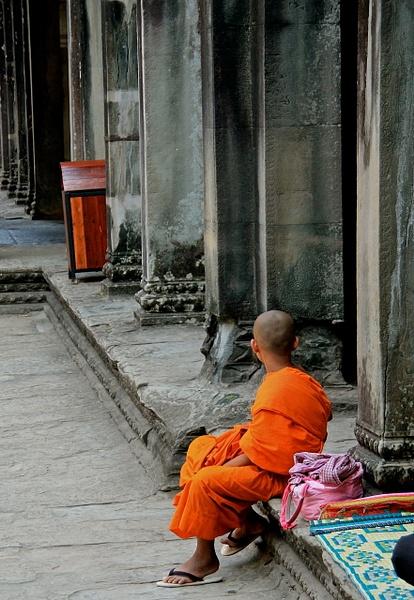 Young Monk at Angkor Wat by MeetupPhoto