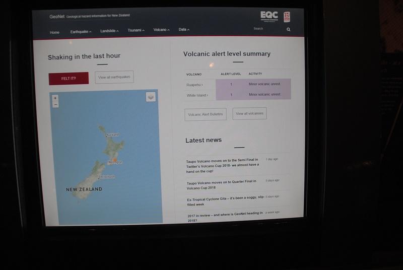 Volcanic activity info in Wellington museum