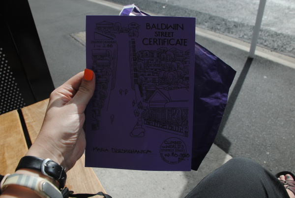 Got my certificate for climbing Baldwin Street :) by Maria Dzeshchanka