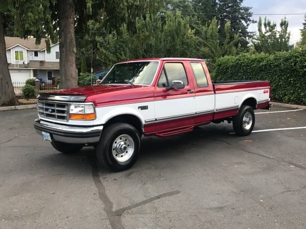 1997 Ford F250 Extra Cab 4x4 460 Gas Burgundy and White...