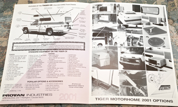 2001 Provan Tiger CX Model 4x4 19' Class C Motorhome...