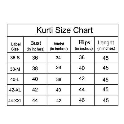 Kurti size chart