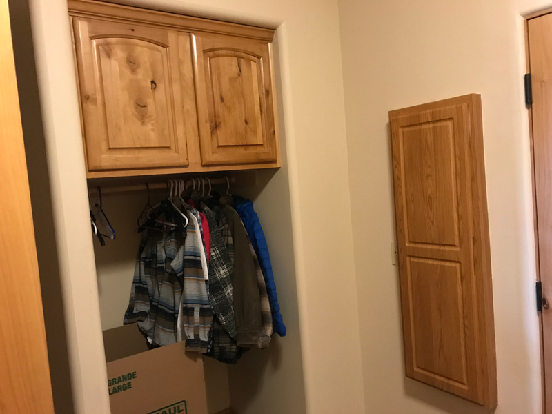 REMOVING THIS AREA TO PUT IN FOLDING TABLE AND HANGING RACK