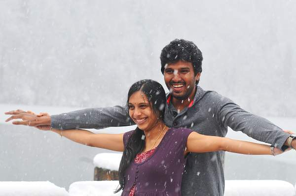 Indian couple in snow