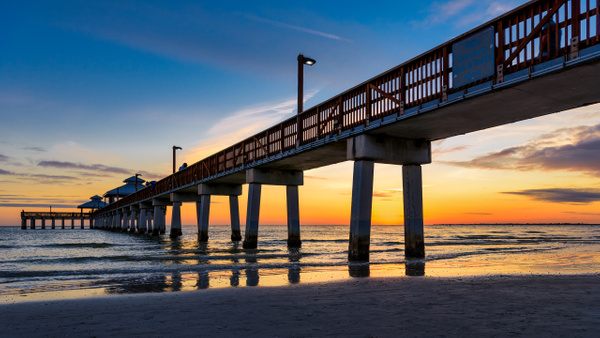 Sunset at Fort Myers Beach Fishing Pier - Landscapes - Dee Potter Photography