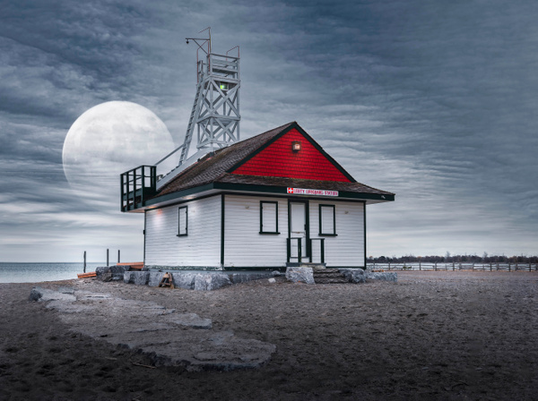 Moon Over the Lifeguard Station - Landscapes - Dee Potter Photography