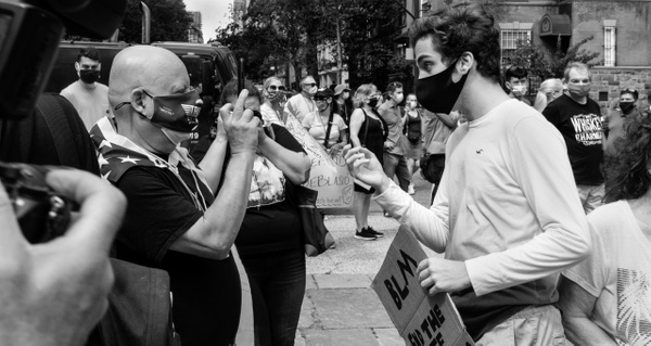 Pro-Trump protester and Black Lives Matter counterprotester, New York, September 2020 - Politics: Activism - Justine Kirby Photography