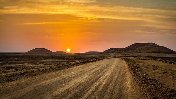 Dusty sand road sunset in Yemen desert - Special: Namibia - Garth Fuchs Photography