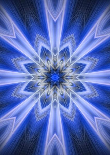 No.11-Blue-Neon-Snowflake-fractal-art - Fine Art