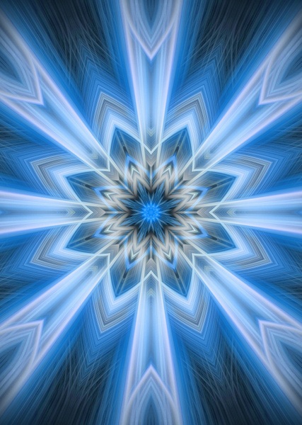 No.4-Lite-Blue-snowflake-fractal - Fine Art