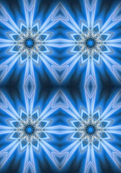 No.9-Neon-Lite-Blue-Snowflakes - Fine Art