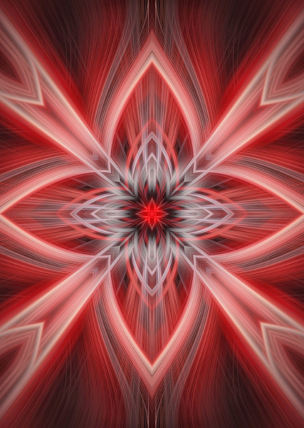 No.15-Red-Star-Pattern-Fractal - Fine Art