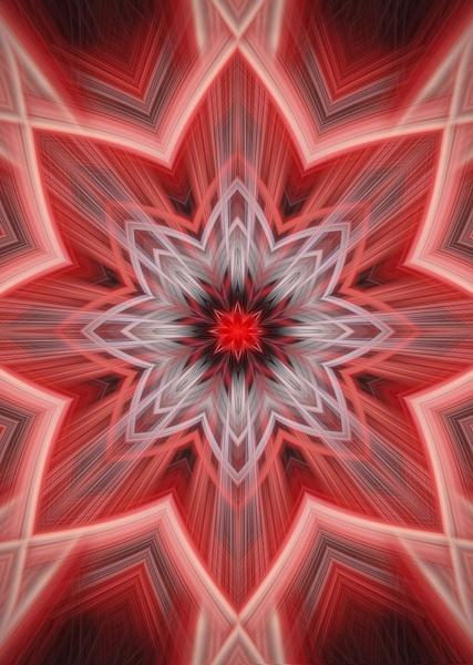 No.6-Eight-Point-Red-Star-fractal - Fine Art